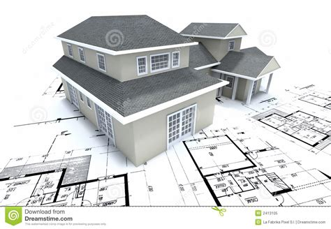 House On Architect Plans Stock Illustration Illustration
