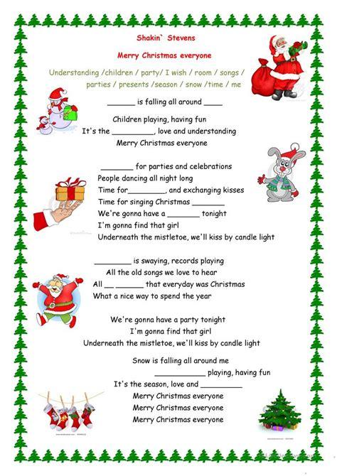 merry christmas everyone song worksheet free esl