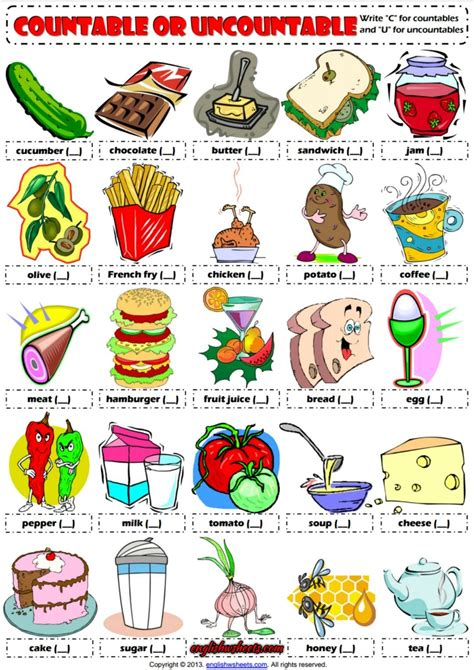countable  uncountable nouns esl exercises worksheet