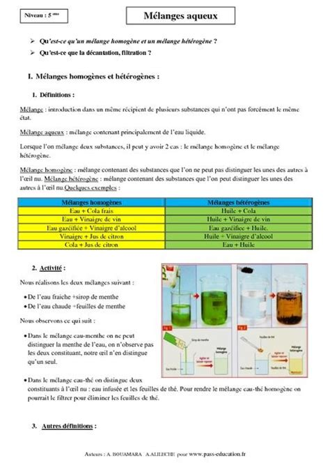 la chimie en cuisine mélanges aqueux cours 5ème physique chimie