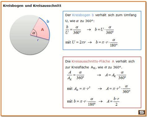 kreisbogen und kreisausschnitt berechnen formel maths