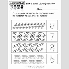 Back To School Counting Worksheet  Free Kindergarten Math