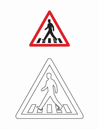 Coloring Road Sign Signs Traffic Pages Crossing