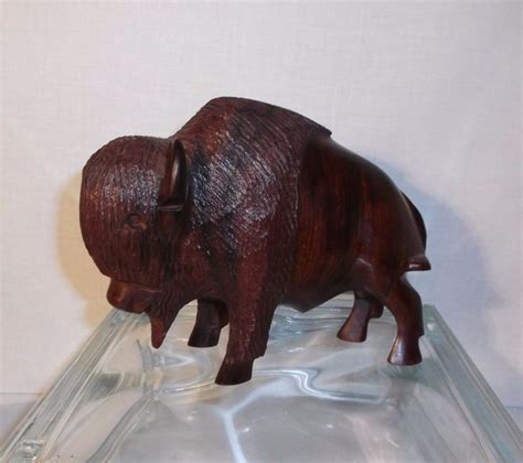 vintage hand carved ironwood buffalo  bison  sonora