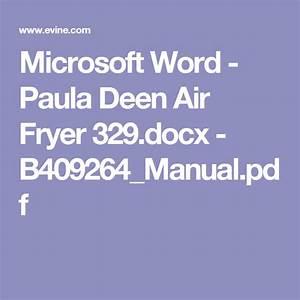 Microsoft Word - Paula Deen Air Fryer 329 Docx