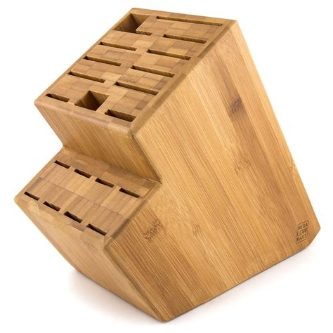 kitchen cart with butcher block megalowmart 18 slot bamboo wood kitchen knife block stand