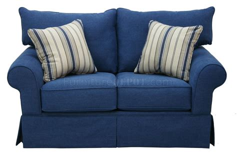 Blue Denim Loveseat blue denim fabric modern sofa loveseat set w options