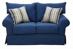 Blue Denim Fabric Modern Sofa Loveseat Set WOptions