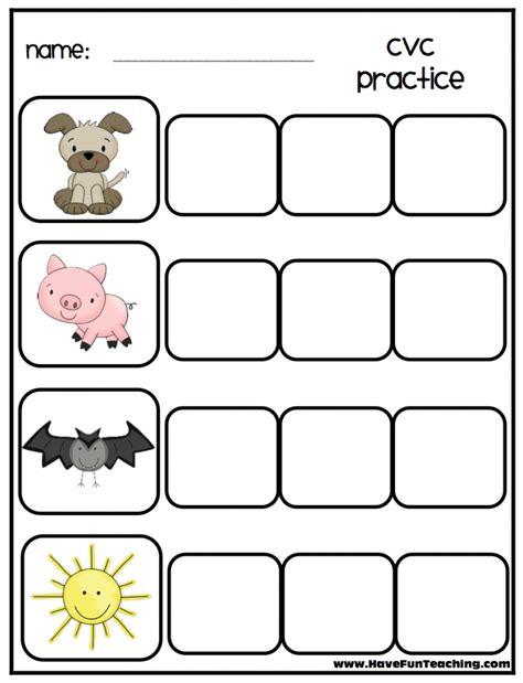 cvc words worksheets for free kindergarten three