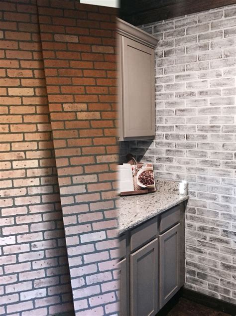 before and after lowes brick panel painted white brick
