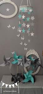 mobile etoiles turquoise blanc gris decoration chambre With deco chambre turquoise gris