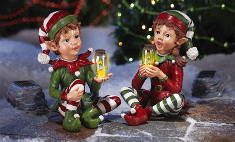 solar power lighted holiday elves garden statue christmas decor porch yard lawn ebay