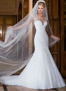 cap sleeve wedding dress mermaid lace white wedding gowns With long veil wedding dresses