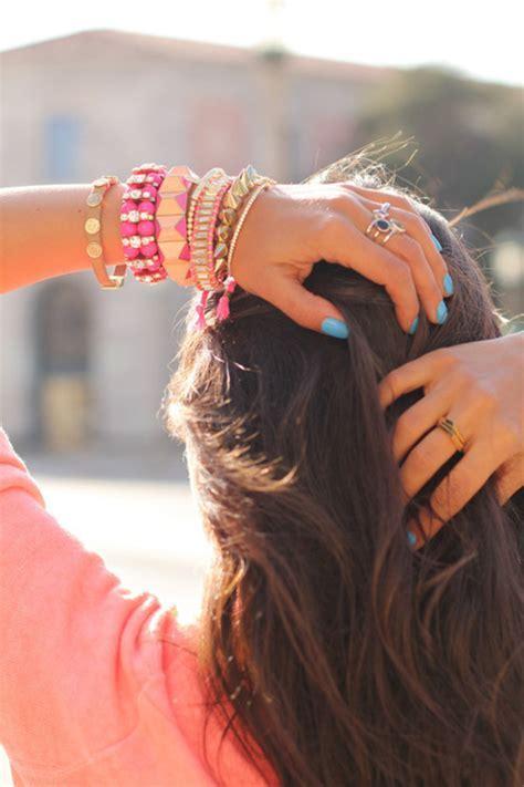 jewels, spikes, gold, pink, bracelets   Wheretoget