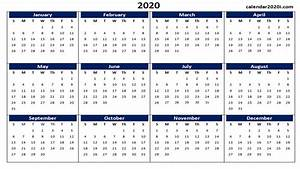 One Page Templates Calendar 2020