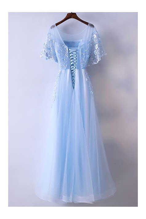 beautiful cap sleeve blue prom dress long  tulle