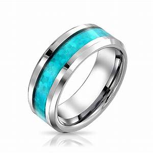 Mens Blue Opal Look Inlay Tungsten Wedding Band Ring