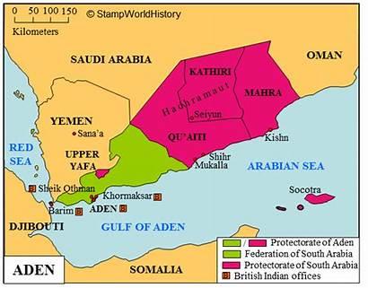 Map Aden Yemen Aiti Stamps Qu History