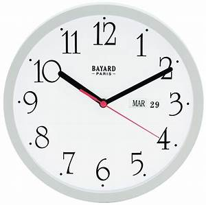 Horloge Murale Blanche : horloge murale ronde blanche avec jour et date pendule ~ Teatrodelosmanantiales.com Idées de Décoration