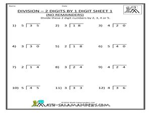 division 2 digits by 1 digit no remainders sheet 1 3rd