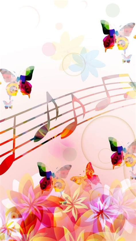 musical notes butterflies iphone  wallpaper