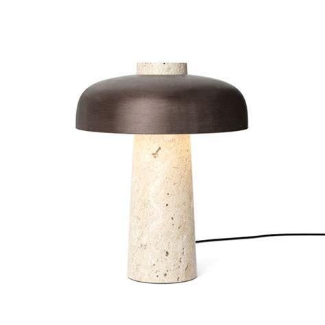 reverse table lamp  travertine bronzed brass  menu