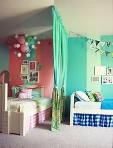 Kinderzimmer Vorhänge Mädchen : raumteiler kinderzimmer vorhang geschwister m dchen junge rosa blau hi pinterest ~ Watch28wear.com Haus und Dekorationen