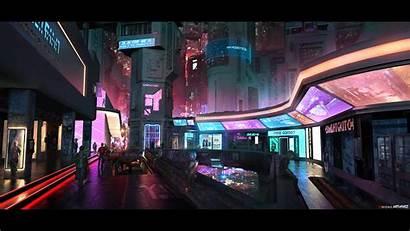 Neon District Night Futuristic Concept Sci Fi