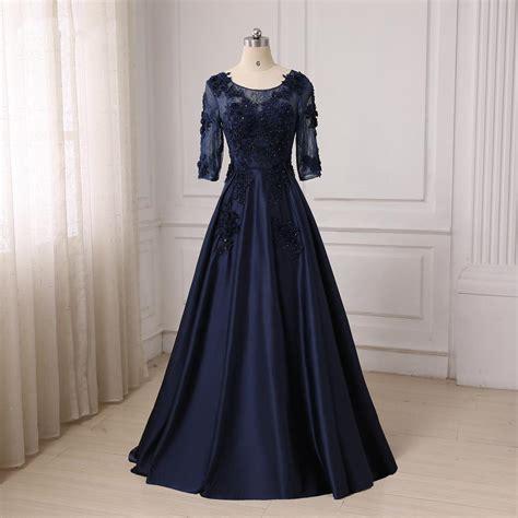 Evening Gowns For Fat Women 2017 Half Sleeves Long Dark