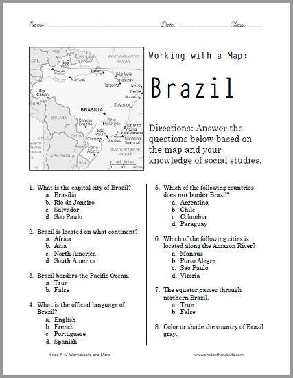 this free printable map worksheet of brazil works