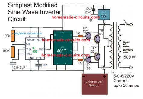 simplest modified sinewave inverter circuit circuit diagram in 2019 circuit projects sine