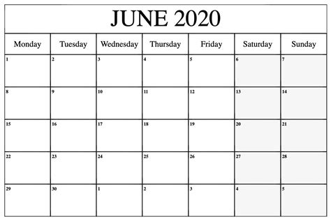 editable june  calendar  print  word blank