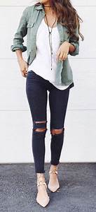 Summer outfits Army Jacket + White Tee + Black Ripped Skinny Jeans | Tommy hilfiger | Pinterest ...