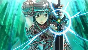 Wallpaper, Illustration, Looking, Away, Long, Hair, Anime, Girls, Armor, Sword, Original