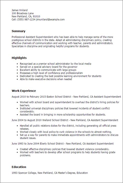 School Assistant Superintendent Resume professional assistant superintendent templates to showcase your talent myperfectresume