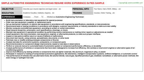 Automotive Engineer Resumeautomotive Engineer Resume by Automotive Engineering Technician Resume Sle