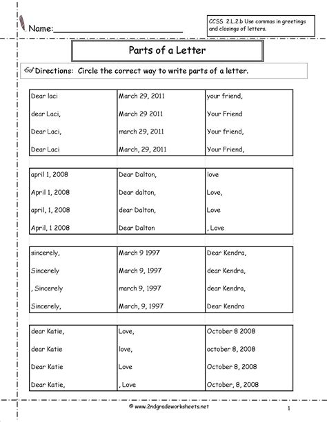 letters and parts of a letter worksheet