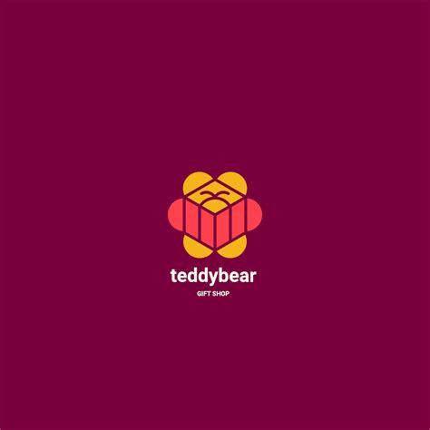 teddy bear  gift shop logo template