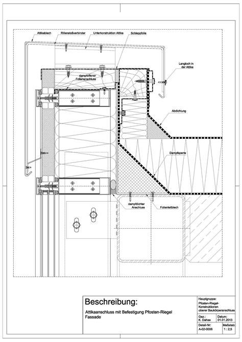 pfosten riegel fassade detail schüco a 02 0006 attikaanschluss mit befestigung an pfosten riegel fassade a 02 0006 detail 180 s