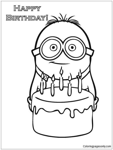happy birthday minion coloring page  coloring pages