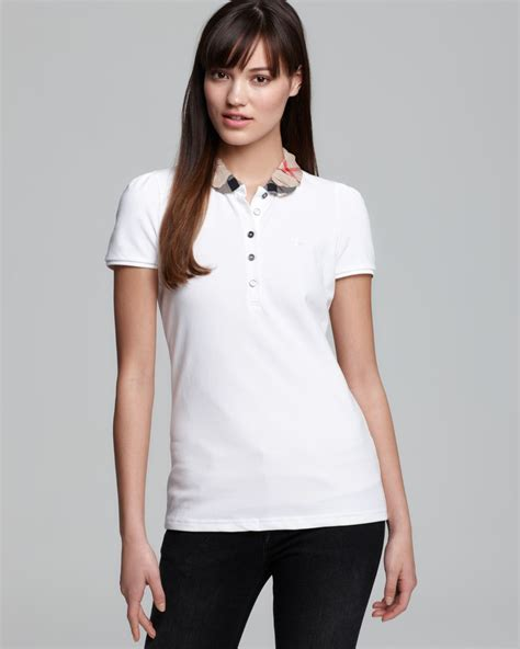 Burberry Brit Polo Shirt with Check Collar in White