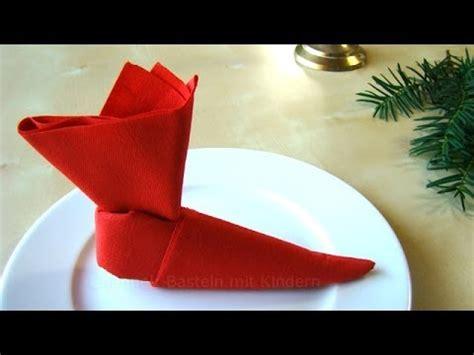 servietten falten weihnachten nikolaus nikolausstiefel tischdeko weihnachten advent youtube