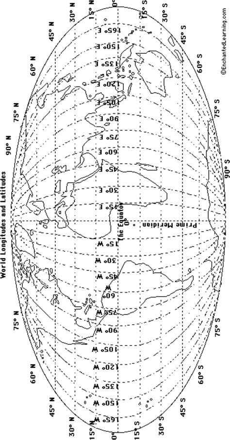 world latitude  longitude outline map