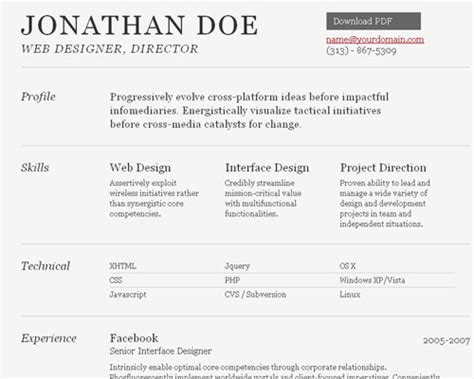 free fancy professional resume templates 40 great html cv resume templates template idesignow