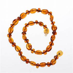 Genuine Baltic Amber Teething Necklace for Baby - Olive-shaped Cognac Beads and Small Cherry