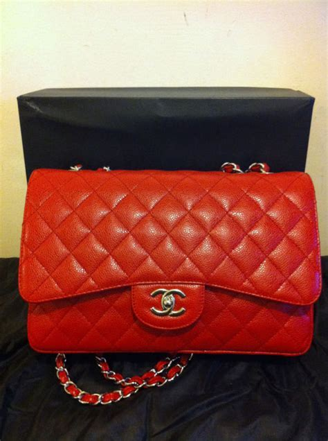 AUTHENTIQUE Sac CHANEL 2.55 Jumbo en cuir grainé rouge   eBay