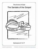 Gospel Coloring Sandals Armor God Sundayschoolzone Printable Sunday Crafts sketch template