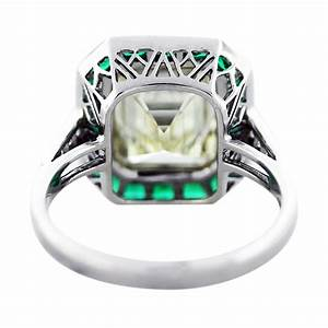 5 ct emerald cut diamond emerald platinum engagement ring for Emerald and diamond wedding ring