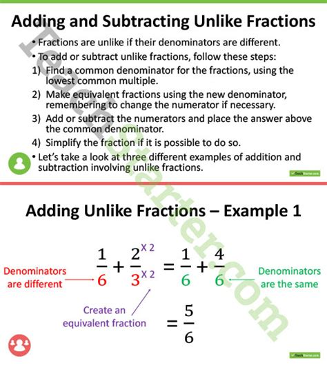 Adding And Subtracting Fractions Tes Resources  Add Subtract Fractions Common Denominator By