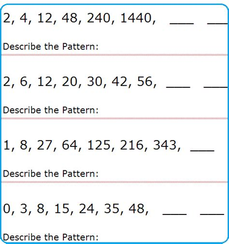 number sequences worksheet year 7 them and try